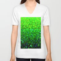 sparkles V-neck T-shirts featuring Glitter Sparkles Green by Saundra Myles