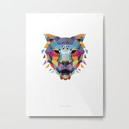 Jaguar Color Geometric Metal Print