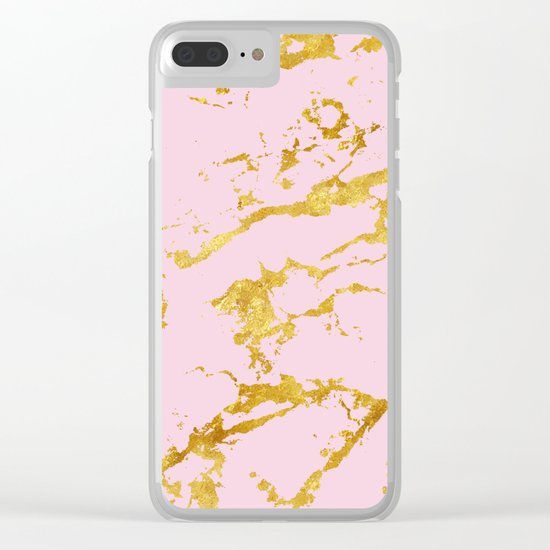Luxury and glamorous gold glitter on lovely girly pink marble Clear iPhone Case