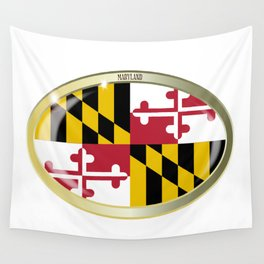 Maryland State Flag Oval Button Wall Tapestry
