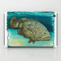 lichtenstein iPad Cases featuring Goliath Grouper ~ Watercolor by Amber Marine