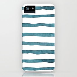 Slate Blue Rugby Stripes iPhone Case
