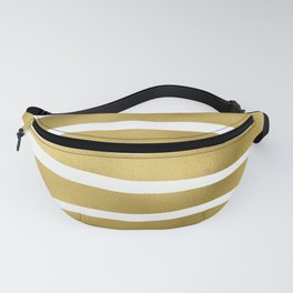 Simply Luxury Gold unequal glitter stripes on clear white - horizontal  pattern Fanny Pack