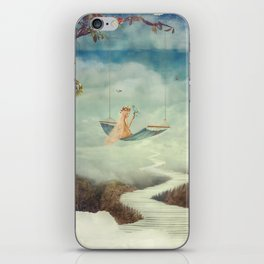 Little girl on the swing in the  fantastic country in sky  iPhone Skin