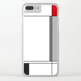Geometric simple modern red gray black pattern Clear iPhone Case