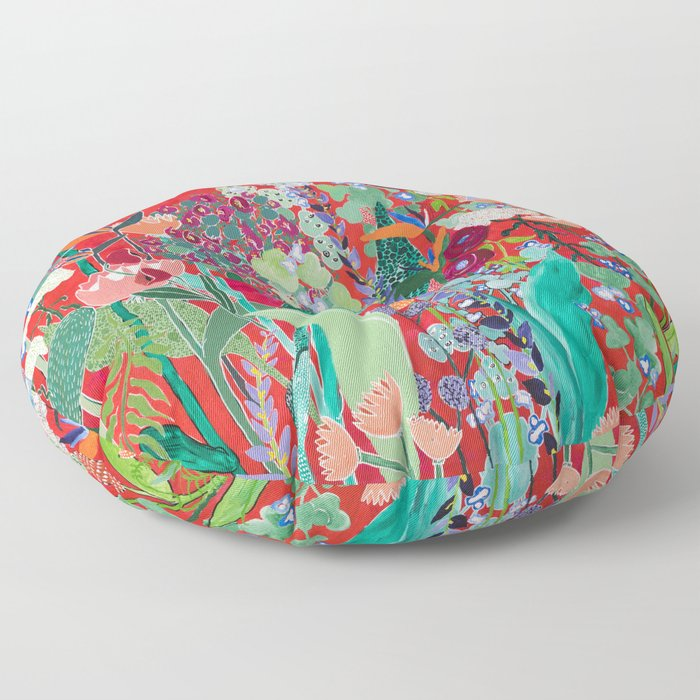 Floral Jungle on Red with Proteas, Eucalyptus and Birds of Paradise Floor Pillow