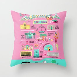 Cape Town South Africa Map Throw Pillow