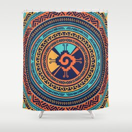 Colorful Hunab Ku Mayan symbol Shower Curtain