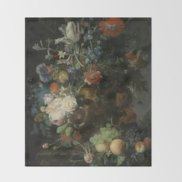Jan van Huysum - Still life with flowers and fruits (1721) Throw Blanket