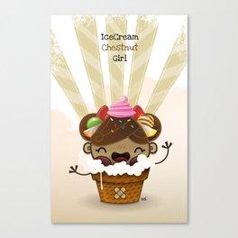 Ice Cream Chestnut Girl Canvas Print