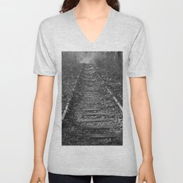 tracks in the forest Unisex V-Neck