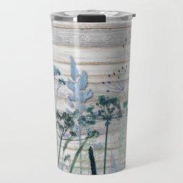 Rustic Barn Wood Series: Decorative Wild Grass Travel Mug