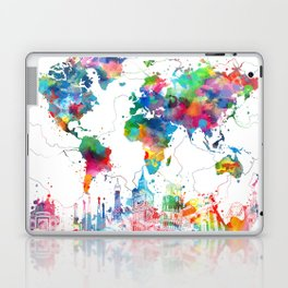 world map watercolor collage Laptop & iPad Skin