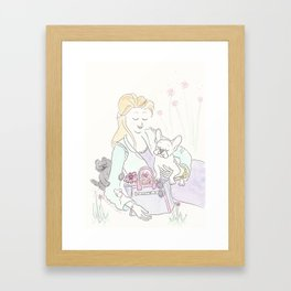White French Bulldog Pup, Black Cat with Flower Tote Fashion Illustration in the Park Framed Art Print