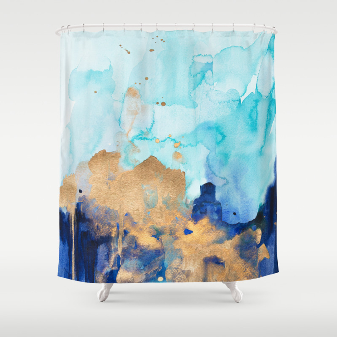 abstract mixed media and painting shower curtains society6