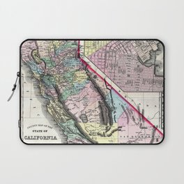 1872 Map of California and San Francisco Laptop Sleeve
