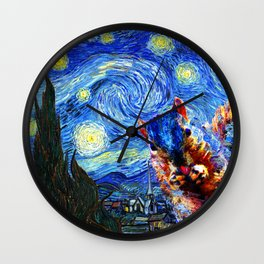 Starry Night Squirrel Photo Bomb Pop Art Wall Clock