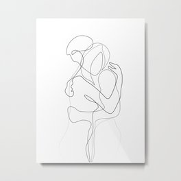 Lovers - Minimal Line Drawing Metal Print