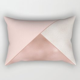Luxury Glamorous Rose Gold Metallic Glitter Rectangular Pillow