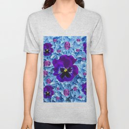 HYDRANGEAS FLORAL & PURPLE PANSIES AMETHYST GEMS Unisex V-Neck