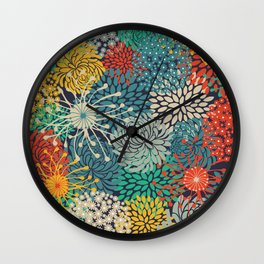Colorful Flower Garden, Floral Prints Wall Clock