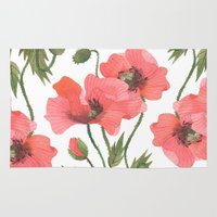 poppies Area & Throw Rugs featuring POPPIES by Oana Befort