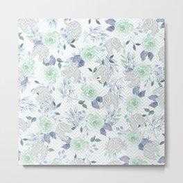 Watercolor mint green gray elephant geometric floral Metal Print