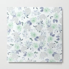 Watercolor mint green gray elephant geometric floral Metal Print