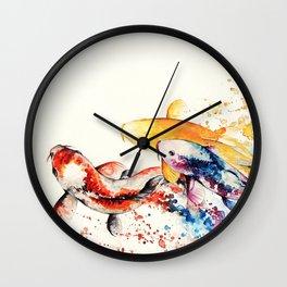 Underwater rainbow : the goldfishes Wall Clock