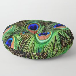 Beautiful photograph of peacock feathers Floor Pillow