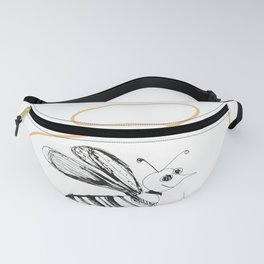 Crazy Bee drawing illustration for kids Fanny Pack