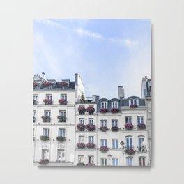 Paris Rooftop Window Boxes Metal Print