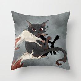 Naughty Vampire Cat Throw Pillow