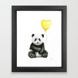 Panda with Yellow Balloon Baby Animal Watercolor Nursery Art Framed Art Print