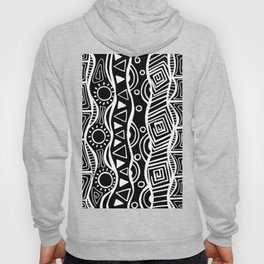 Four Waves - Freestyle Tribal Doodle Design - Black Hoody