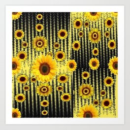 YELLOW ART DECO SUNFLOWERS BLACK ABSTRACT DESIGN Art Print