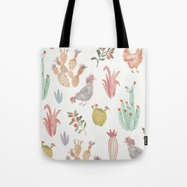 Watercolor Chicken and Cacti Tote Bag