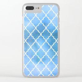 Moroccan Trellis, Latticework, Watercolors - Blue Clear iPhone Case