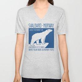 Svalbard Norway Arctic Polar Bear T-Shirt Longyearbyen Spitsbergen Northern Lights Unisex V-Neck