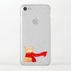 Tabby loves Snow... Clear iPhone Case