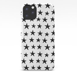 Star Pattern Black On White iPhone Case