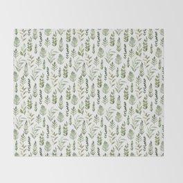 Watercolor leaves Throw Blanket