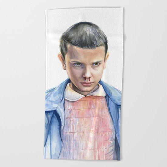 Eleven Stranger Things Watercolor Portrait Beach Towel