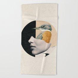 collage art / bird Beach Towel