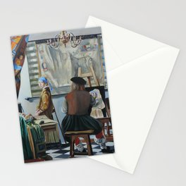 Vermeer paints 'The girl with a pearl earring' Stationery Cards