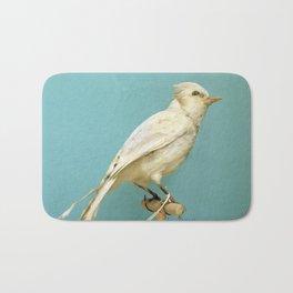 Albino Blue Jay - Square Format Natural History Bird Portrait Bath Mat