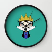 evil queen Wall Clocks featuring evil queen by guizmo04