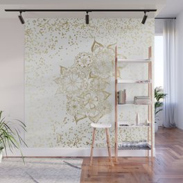 Hand drawn white and gold mandala confetti motif Wall Mural