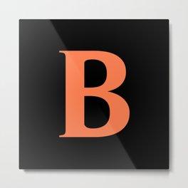 B MONOGRAM (CORAL & BLACK) Metal Print