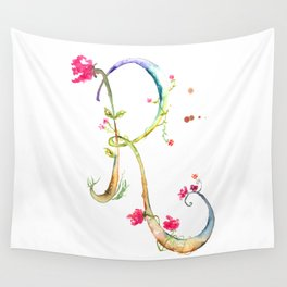 Letter R watercolor - Watercolor Monogram - Watercolor typography - Floral lettering Wall Tapestry